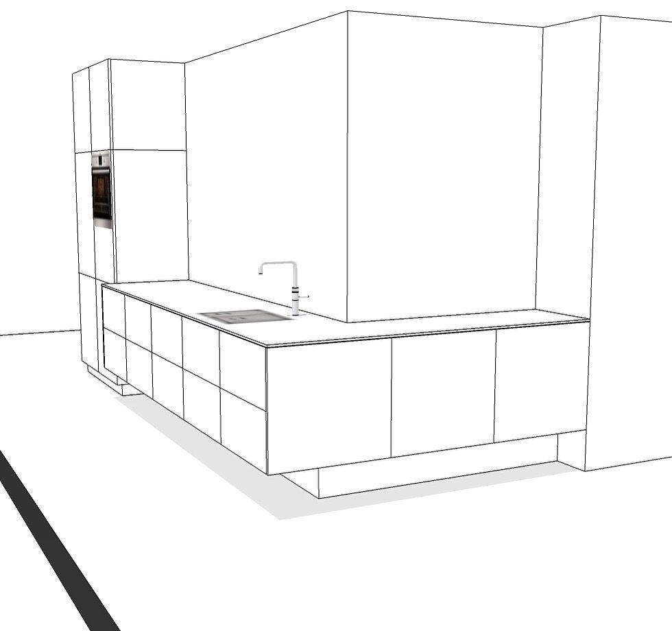 Ontwerp door ons gemaakt voor een zwevende keuken. Zwevend keukenblok met ernaast een minder diep, verticaal deel voor de apparatuur.  Justus & Tjebbo Interieurbouw en Meubelmakers, Amsterdam   Info@justusentjebbo.nl www.justusentjebbo.n   #keuken #kitchen #design #interior #interieur #interieuropmaat #meubelmaken #bespoke #Getacore #lghimacs