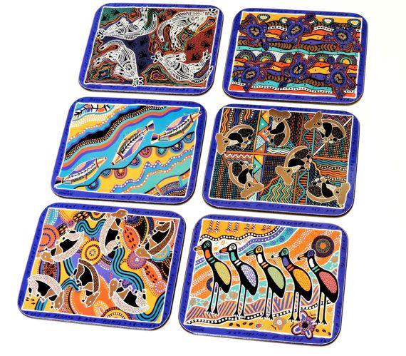 Balarinji Aboriginal Coasters Vintage Jason Australian Animal Etsy Australian Animals Aboriginal Jason Products