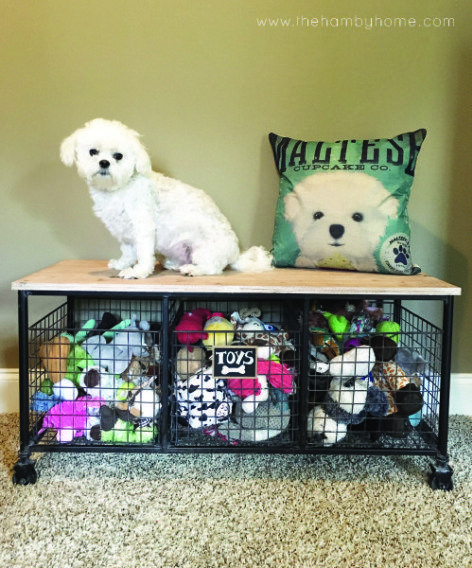 Industrial Bench For Dog Toy Storage