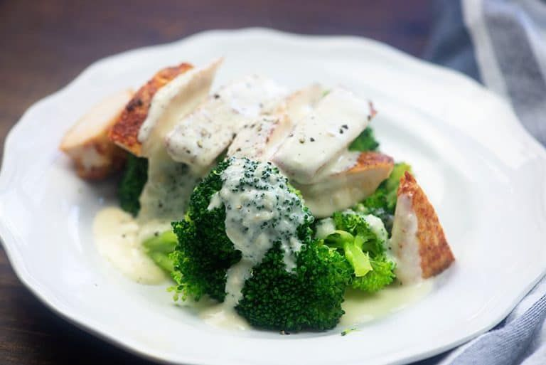 Low carb Alfredo sauce over chicken and broccoli! Bet you don't even miss the pasta!