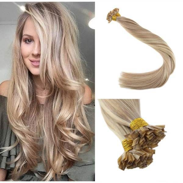 Flat Keratin Tip Pre Bonded Fusion Hair Extensions 18 Ash Blonde