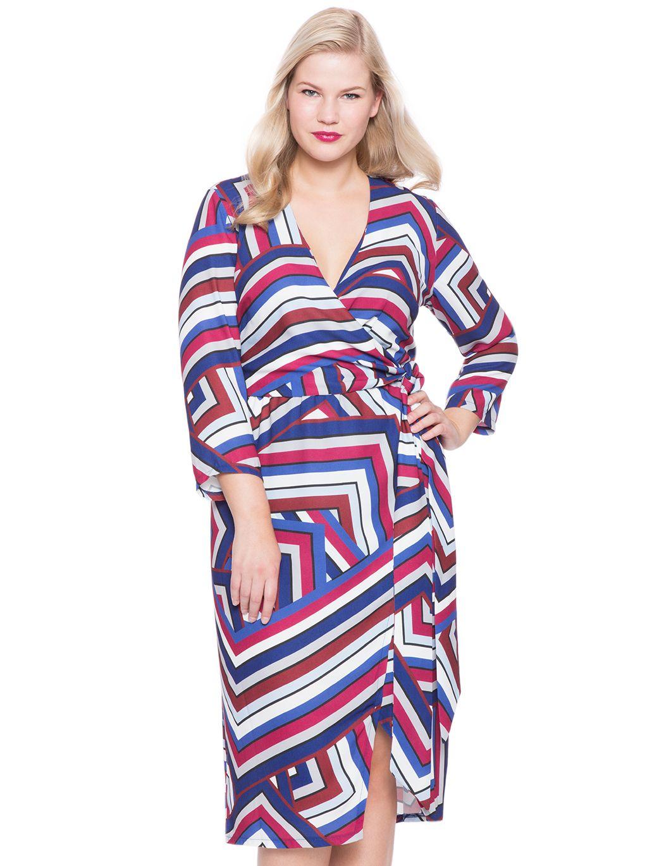 Opposing Stripes Wrap Dress | Women\'s Plus Size Dresses | RENT ...
