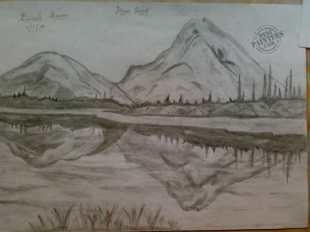 Pencil sketch scenery beautiful scenery pencil sketch desipainters