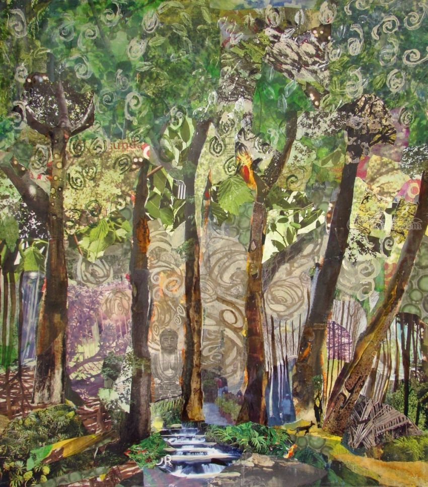 Watercolor artists names - Title Buddha Forest Artist Name Gayle Gerson Description Collage On Watercolor