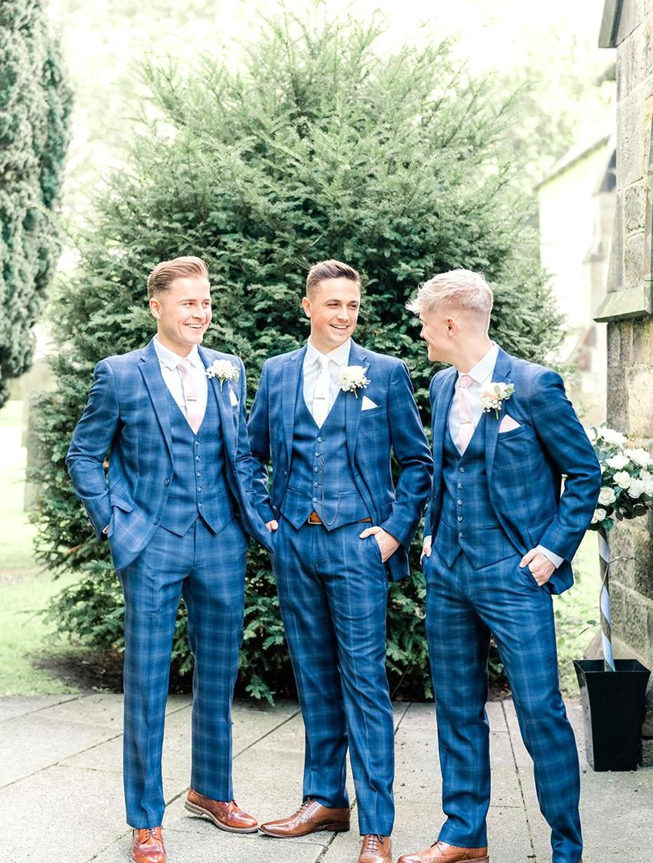 Groom Suit Blue Check Groomsmen Beamish Hall Wedding Carn Patrick Photography In 2020 Blue Suit Wedding Groom Suit Groom Blue Suit