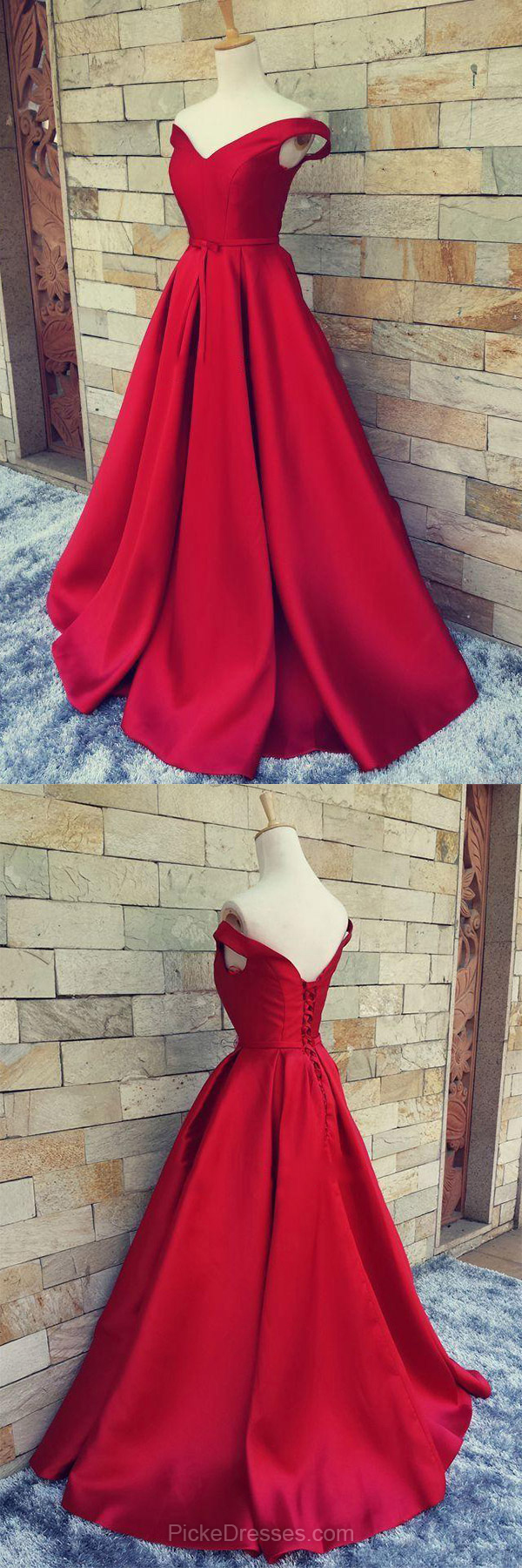 Offtheshoulder red satin sweep train sashes ribbons gorgeous