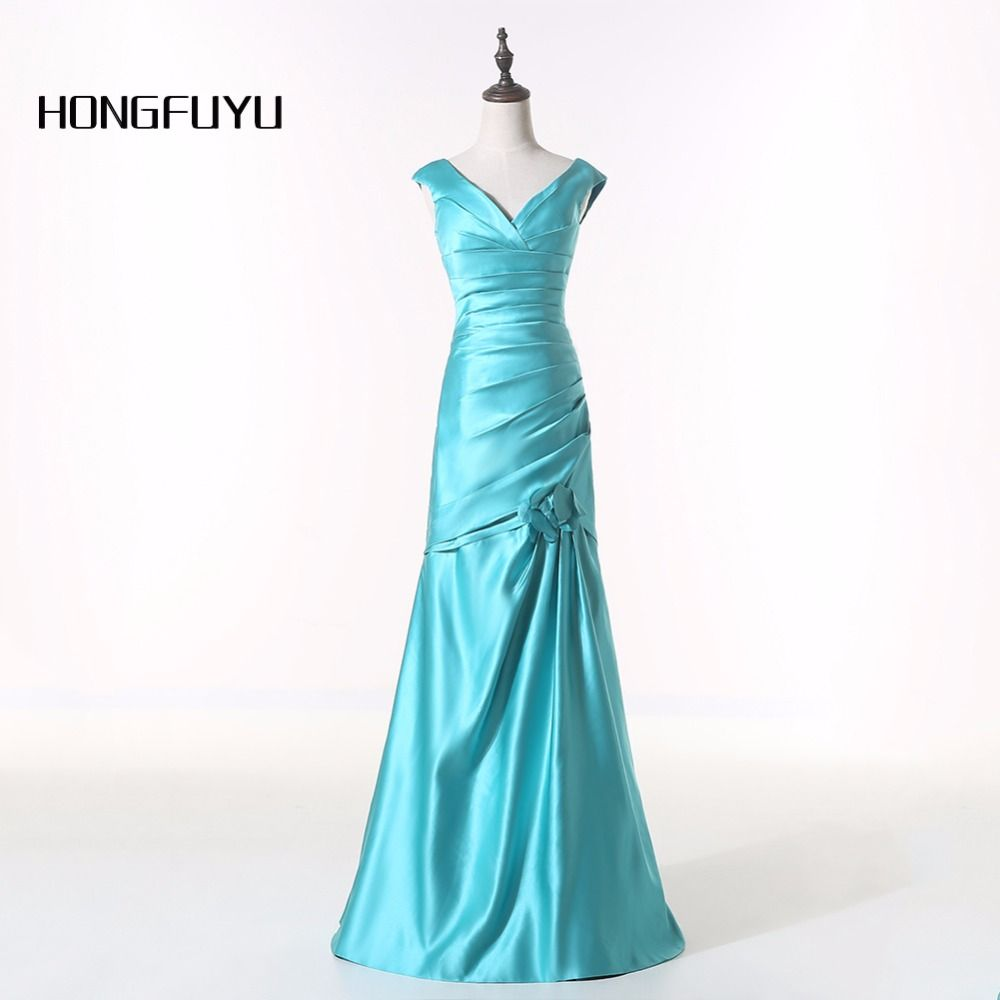 Actual image new vestido girl vneck sky blue satin long mermaid