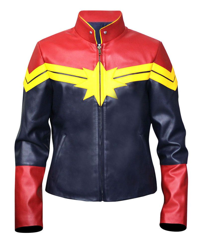 Captain Marvel Carol Danvers Costume Women's Hi Quality Synthetic Leather Jacket #byfashionpvt #BasicJacket