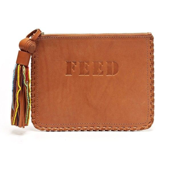 FEED Heritage Kisumu Clutch ($150) ❤ liked on Polyvore featuring bags, handbags, clutches, leather purse, heart purse, brown handbags, brown purse ve genuine leather purse