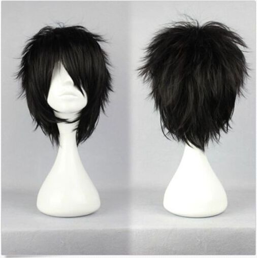 Hot Fashion Short Straight Synthetic Anime Party Cosplay Costume Full Wigs Black Short Black Wigs Cheap Human Hair Wigs Wig Alternative