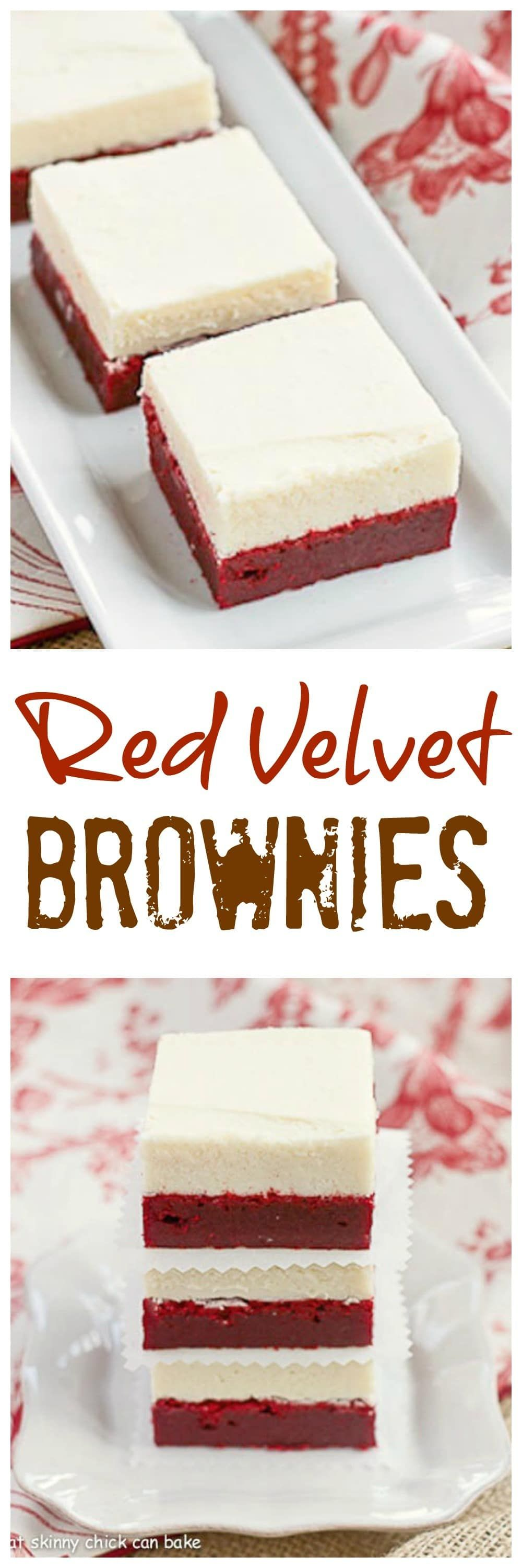 Red Velvet Brownies   Denser than the classic cake , these decadent brownies are topped with white chocolate buttercream! @lizzydo