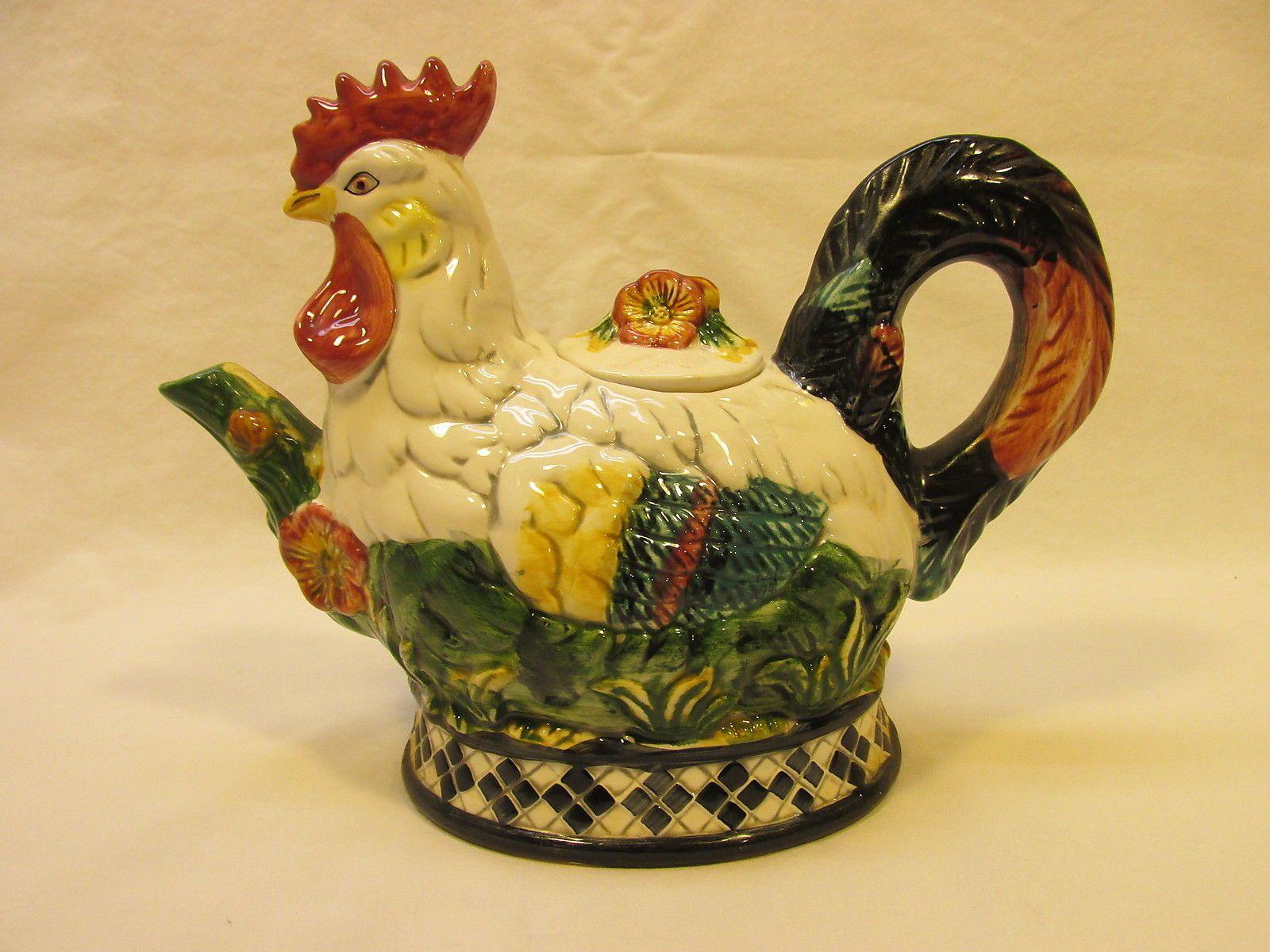 Collector Porcelain Chicken Rooster TEA POT CBX 1998 | eBay