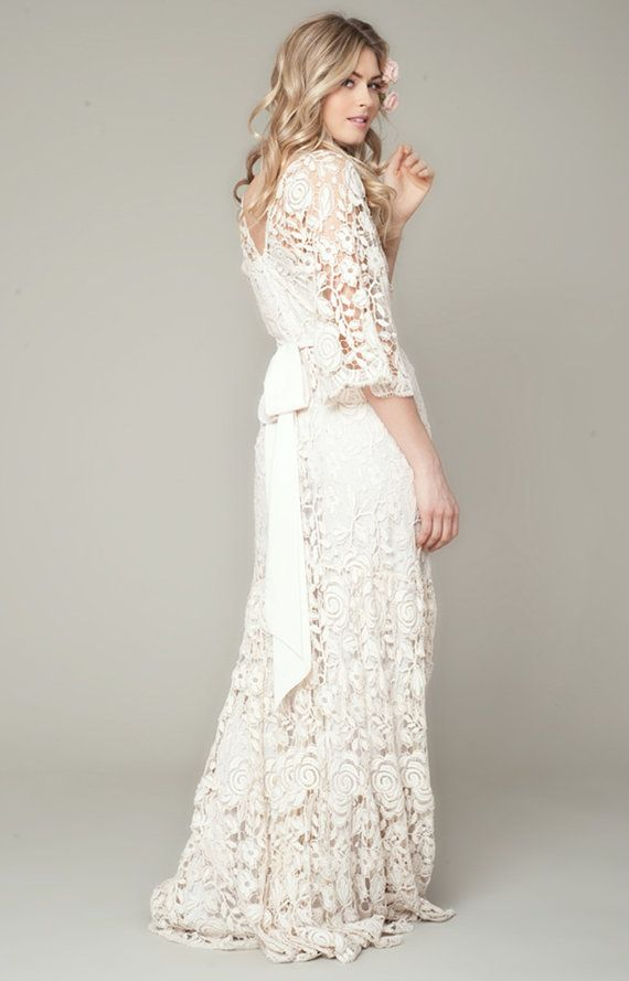 Bohemian Wedding Dress Roses French Lace Gown | Pinterest | French ...