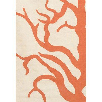 Thomas Paul Flat Weave Dhurrie Cream/Orange Coral Rug