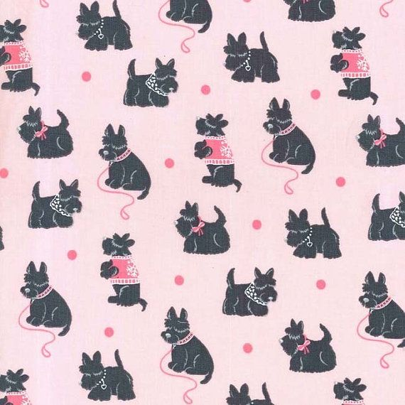 Fabric Scottie Dog Girl In Pink 1 2 Yard By Dorothyprudiefabrics 4 99 Loca De Los Gatos Amantes De Los Gatos Terriers Escoceses