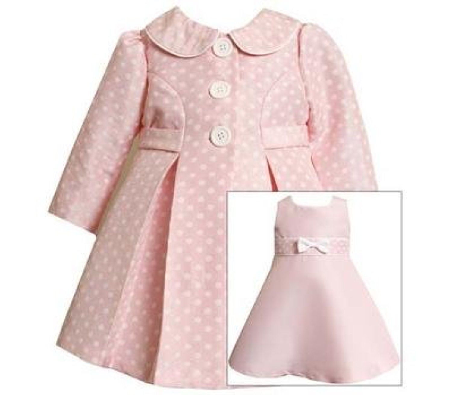 8ef3bd8a1 Bonnie Baby Girls Pink Jacquard Dot Coat & Dress Set , Pink , 24M ...