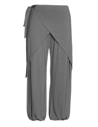 Wide cut trousers in wrap look in Grey designed by Isolde Roth to find in Category Trousers at navabi.de