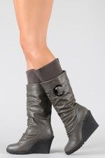 Pure-12 Buckle Sweater Slouchy Knee High Wedge Boot
