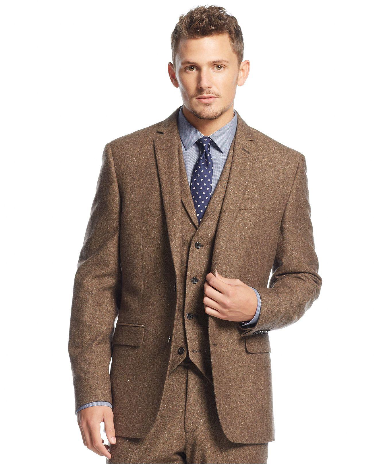Bar III Carnaby Collection Slim-Fit Brown Tweed Herringbone Jacket ...