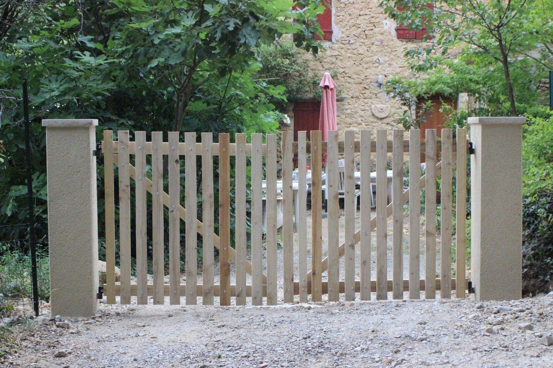 ворота штакетник дерево фото