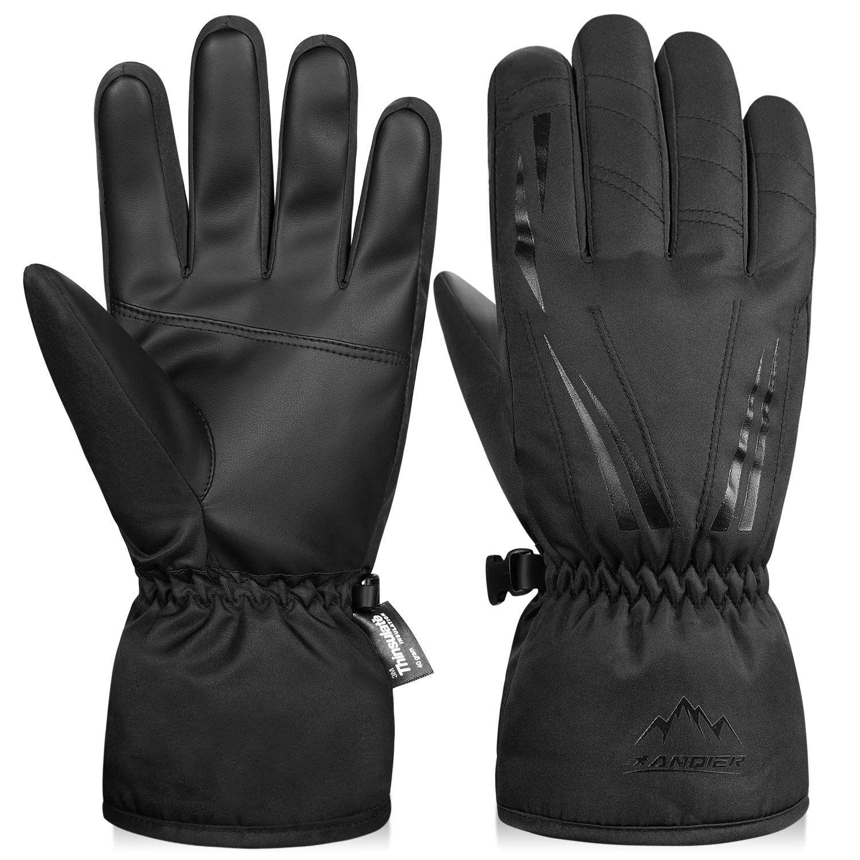 Mens Waterproof Warm Winter Ski Snowboarding Gloves Thermal Thinsulate Black XL
