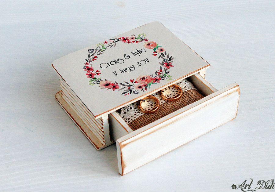 Personalized box Wreath wedding Ring holder ring box Ring Bearer Box Wedding