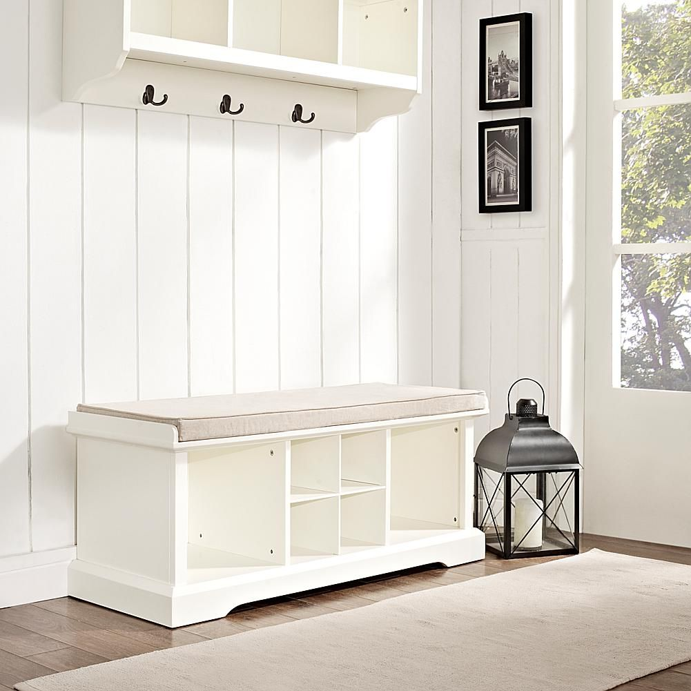 Home marketplace crosley brennan entryway storage bench white