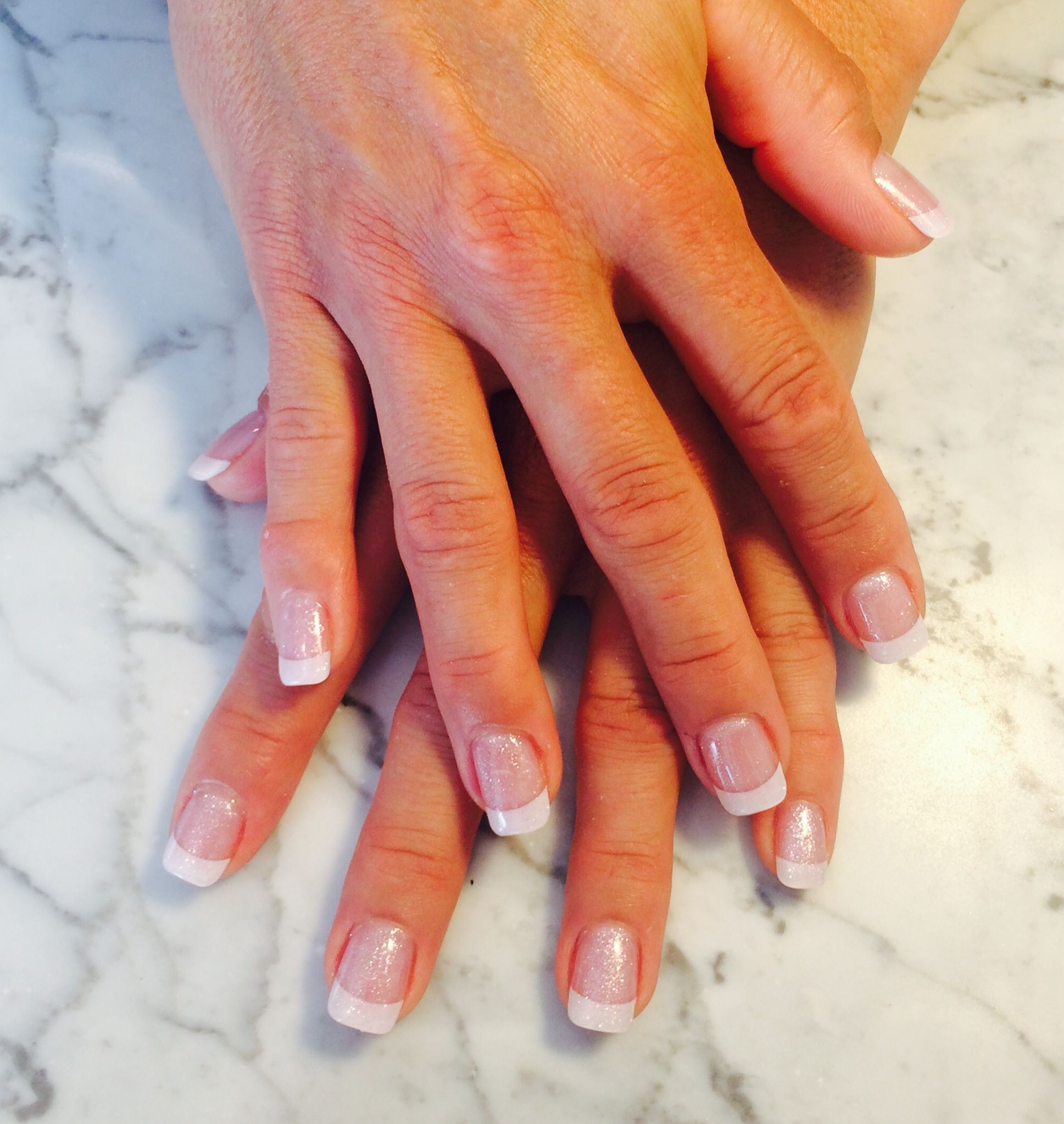 Solar nails: Pink & White French Tip with glitter by our Manicurist ...