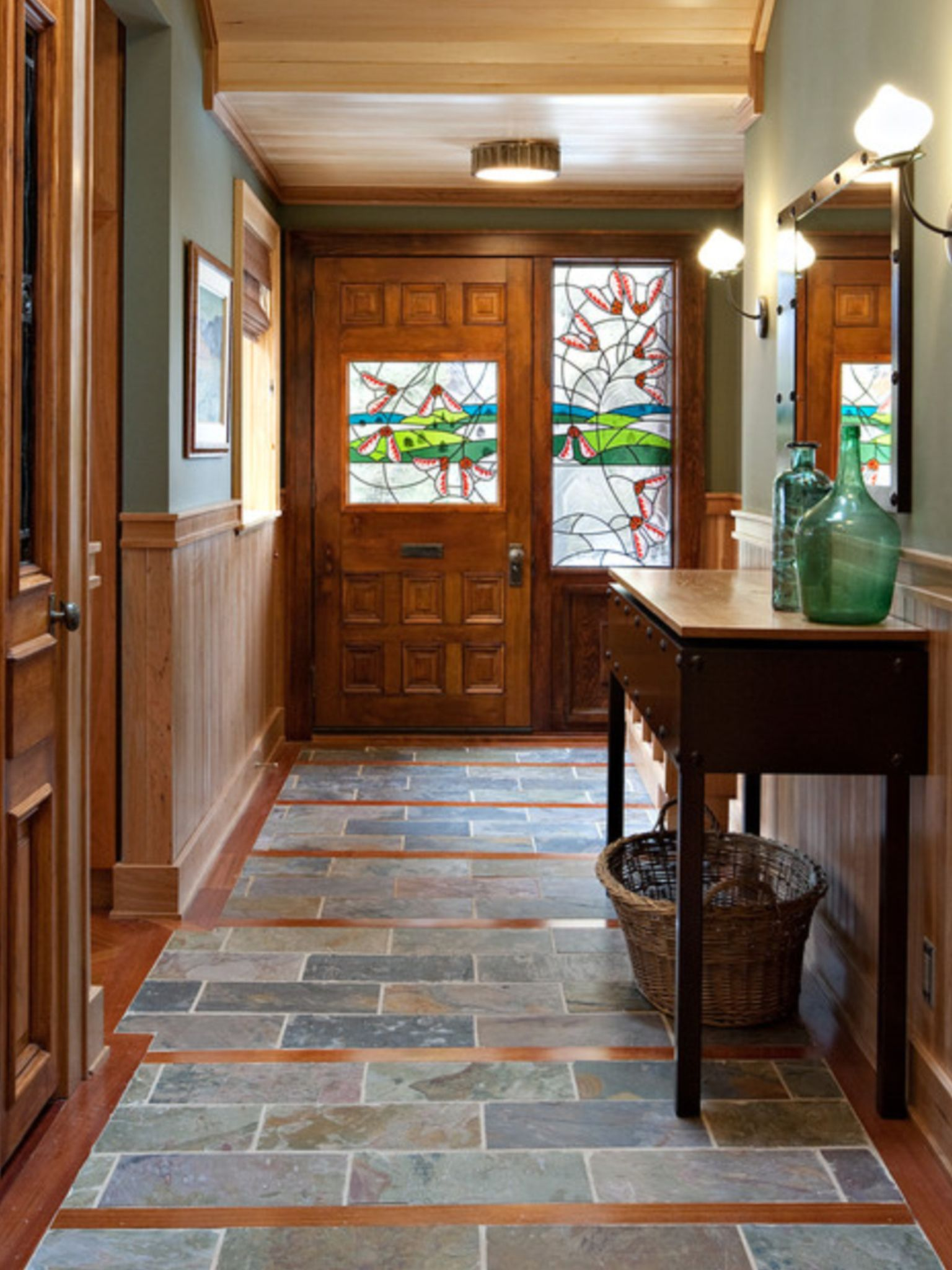 Like the tile and wood/laminate combo. Could work with a ...