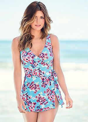 8eb97b0267 Floral Print Wrap Front Swimdress #kaleidoscope #swimwear #holiday ...