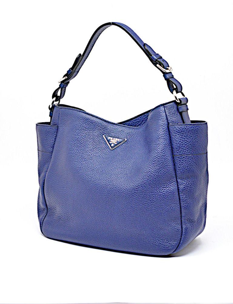 3d2c856b81d3 PRADA Vitello Daino BLUE Pebble LEATHER Tote Bag Silver Hdwr 16