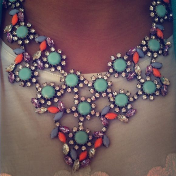 J. Crew crystal floral statement necklace Beautiful piece, goes well with casual wear and with more formal wear! Perfect condition J. Crew Jewelry Necklaces