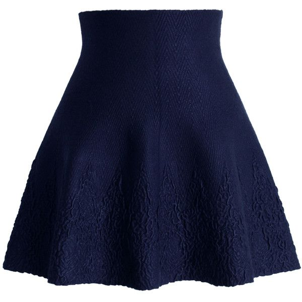 Chicwish Dance Around Emboss Skater Skirt in Navy (50 AUD) ❤ liked on Polyvore featuring skirts, bottoms, saias, skater skirts, blue, circle skirt, blue skirt, navy knee length skirt, flared skirt and blue skater skirt