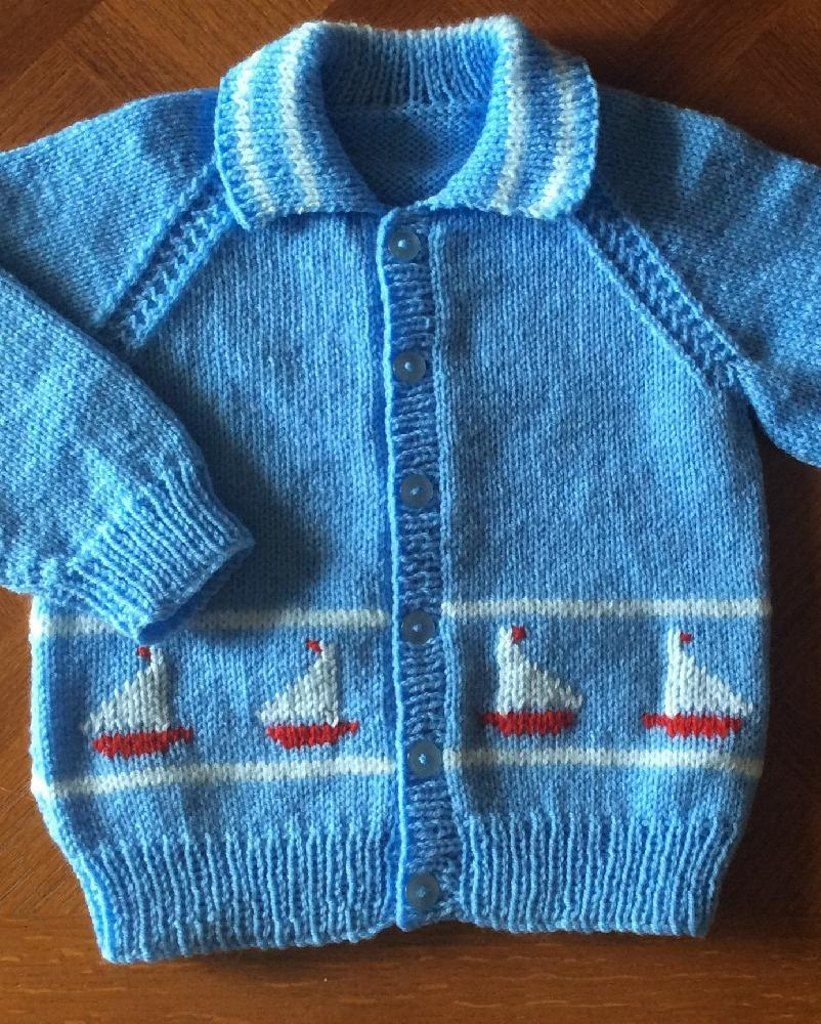 Little Yachts Cardigan with a collar, in 2 sizes | Diagram, Knitting ...