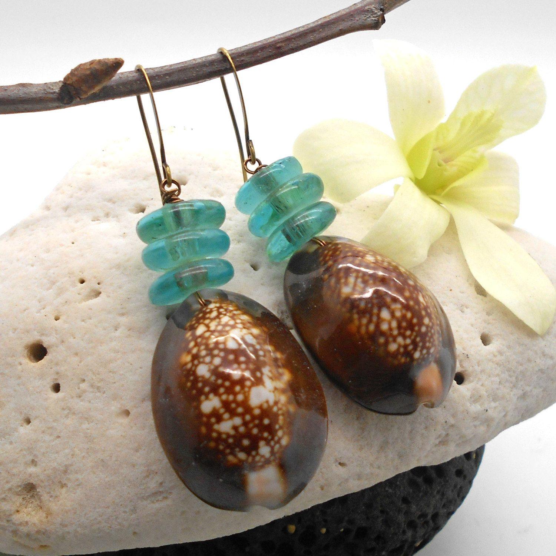Shell Earrings, Cowrie Shell Jewelry, Beach Jewelry, Sea Shell Earrings,  Beach Wedding, Dangle Earrings, Tribal Earrings
