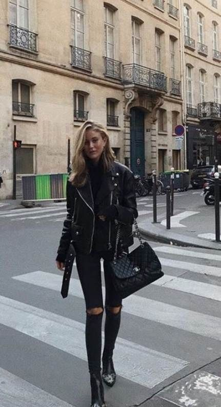 How To Wear Leather Jacket Fall All Black 47+  Ideas #leatherjacketoutfit