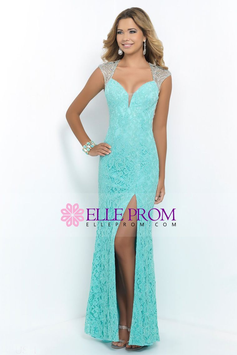 2015 Lace Sheath/Column Prom Dresses Beaded Tulle Back With Slit ...