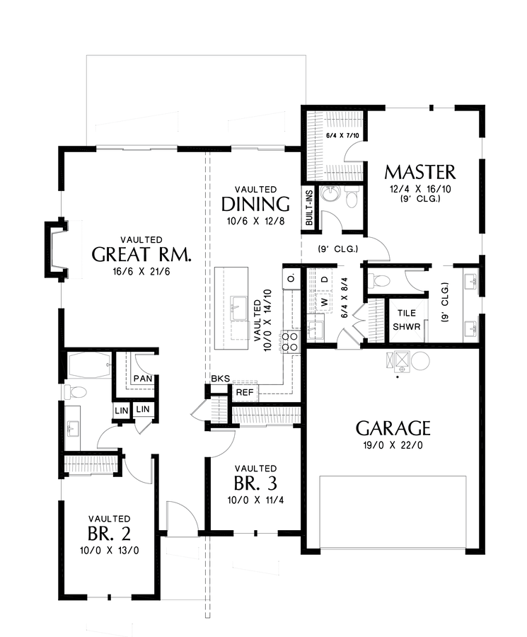 Main Floor Plan Image For Mascord Collins Beautifully Laid Out Contemporary Floor Plan Main Floor Modern Style House Plans Contemporary House Plans House Plans