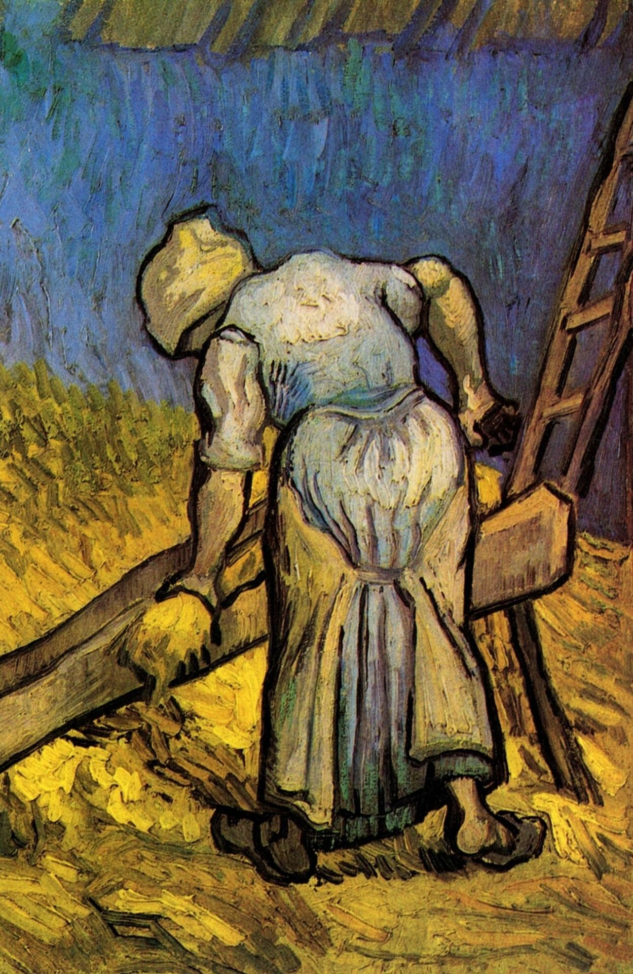 """"""" Peasant Woman Cutting Straw after Millet, 1889 Vincent van Gogh """""""