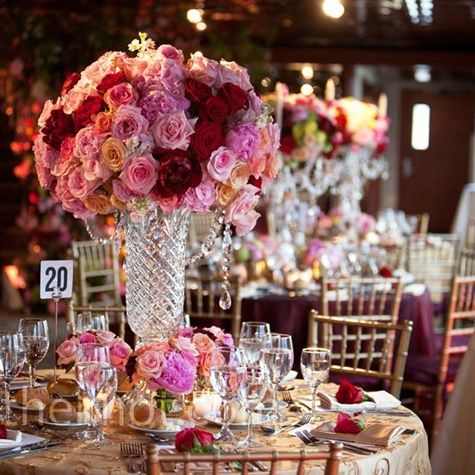 Red And Pink Centerpieces Round Red And Pink Rose Arrangements Stood Out In Tall Cut Crystal