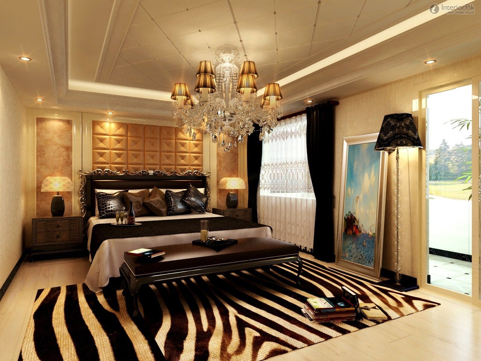 Amazing Home Decorating Modern Bedroom Design Ideas Showing Execellent Gold Shade Crystal Chandelier And Fascinating Some