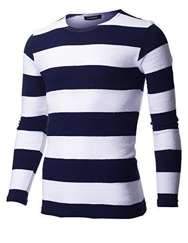 FLATSEVEN Mens Slim Fit Crew Neck Bar Stripe Tee Shirt wi... https://www.amazon.com/dp/B01E74H4DU/ref=cm_sw_r_pi_dp_x_iDnaybNQGH3TQ