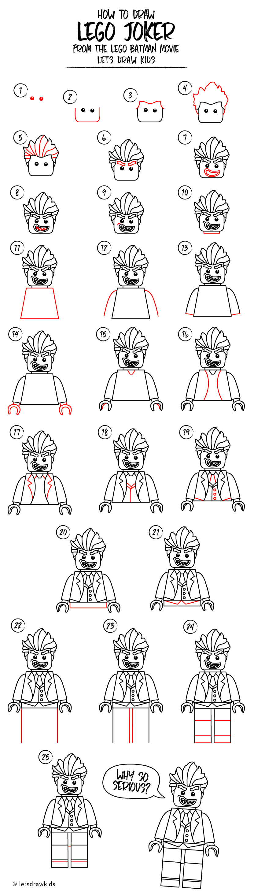 How To Draw Lego Joker Easy Drawing, Step By Step, Perfect For Kids