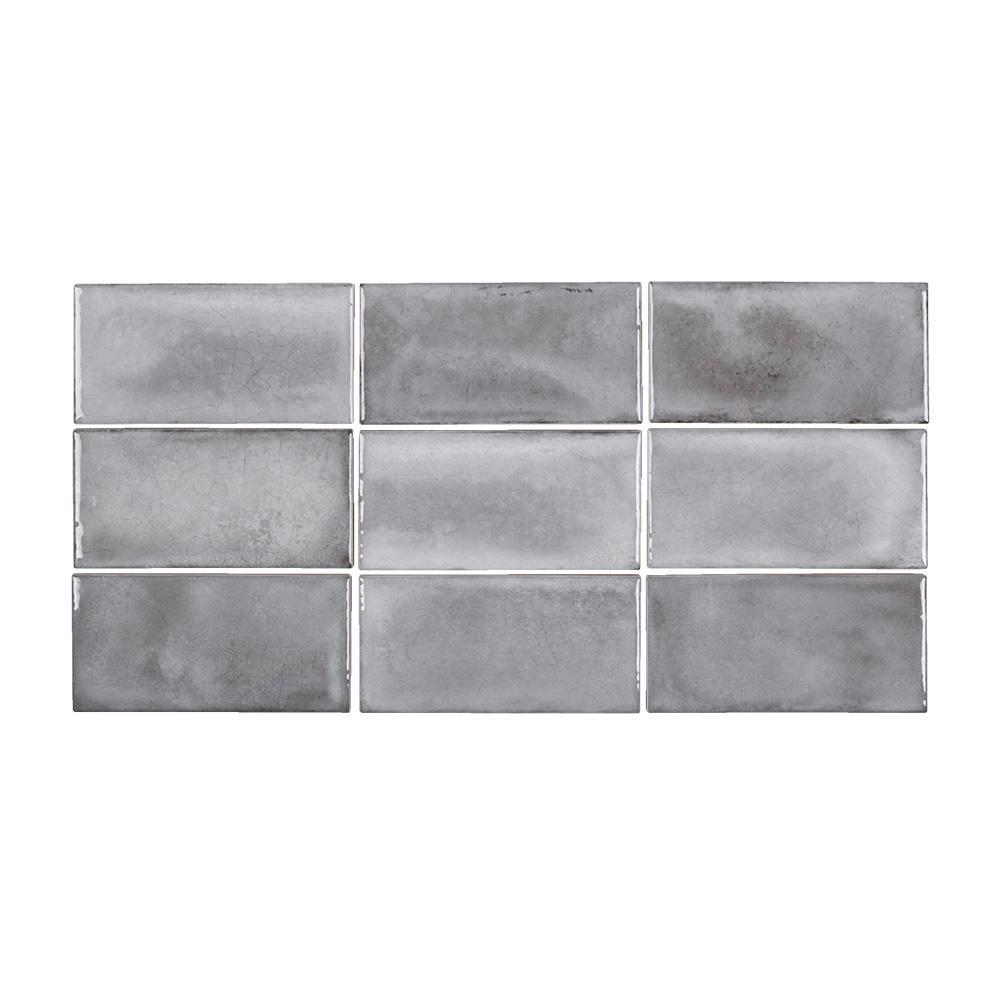 Atrium Kios Gris Glazed Porcelain Floor Tile: Jeffrey Court Gris Rustico 3 In. X 6 In. Glossy Ceramic