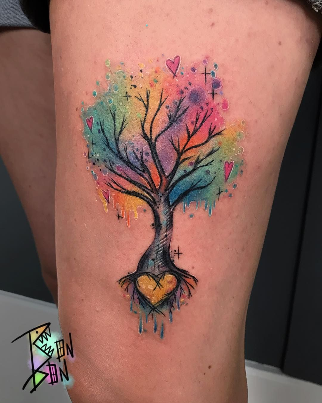 "BONITA CARUANA on Instagram: ""Family tree for Katie 🌈💖🌳 - - - #bonbonbizarre #houseofwolves #houseofwolvestattoo #rainbow #tree"""