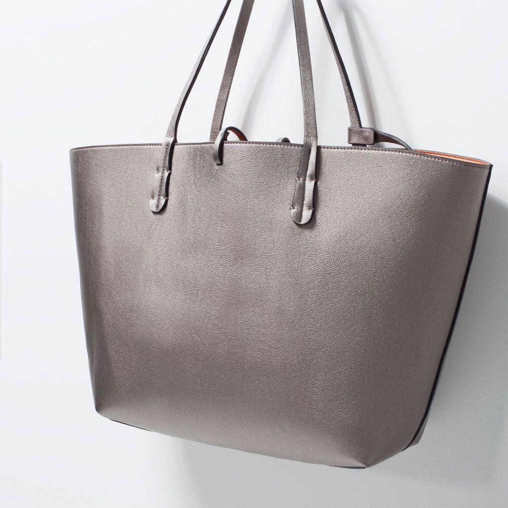 Reversible Metallic Shopper Bag Handbags Woman Zara Serbia Shopper Bag Bags Bags Handbags