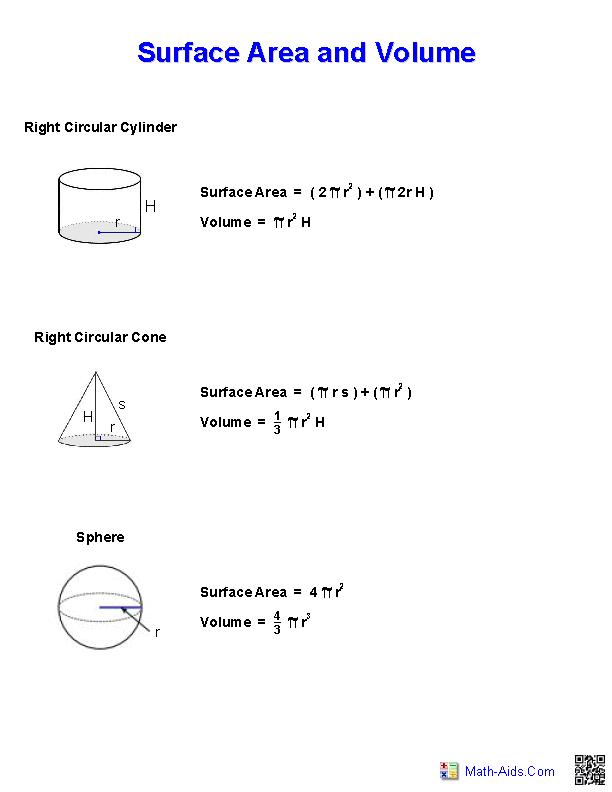 Surface Area and Volume Handout | Math-Aids.Com | Pinterest