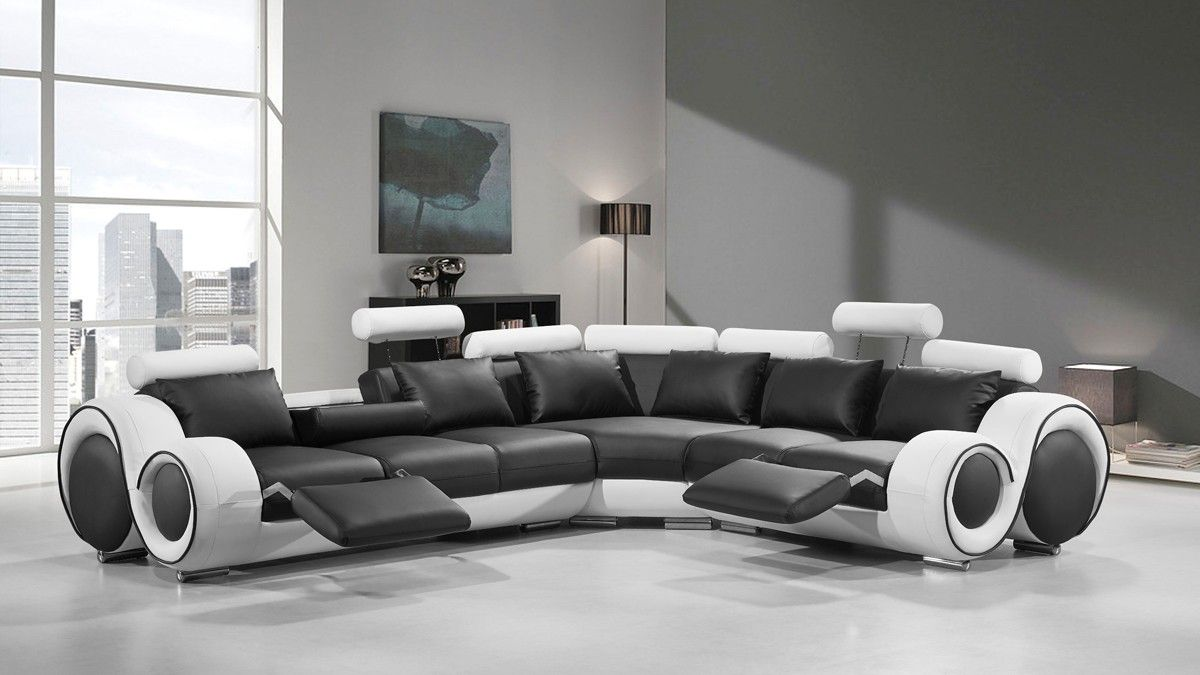 4087 Modern Black And White Leather Sectional Sofa Home Decor