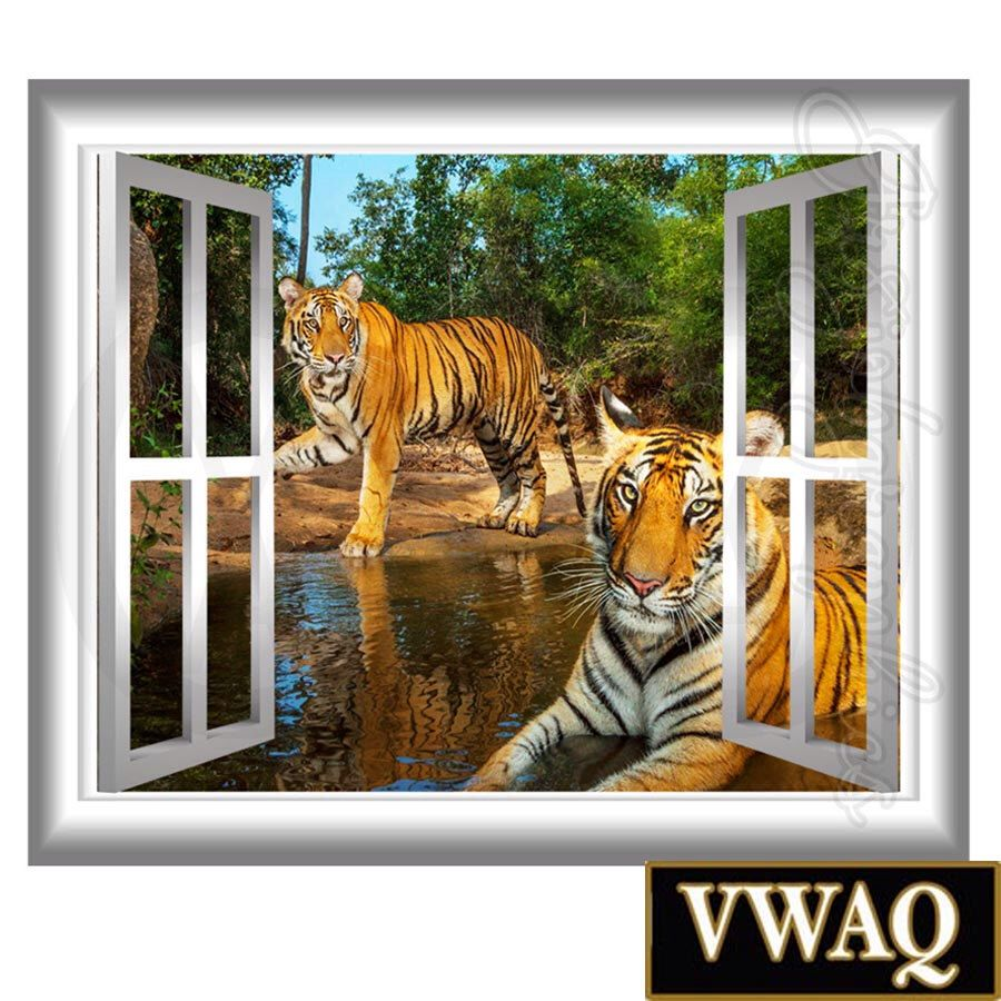 Safari Wall Art 3d window wall decal tigers wall art window frame jungle scene