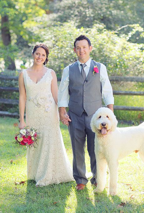 Brides.com: . This couple skipped any accessories and simply let their adorable dog speak for himself.